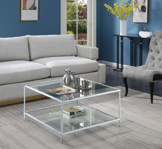 Clear Glass And Chrome Frame Coffee Table