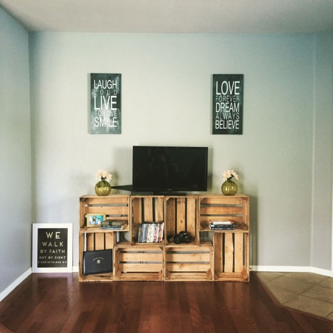 TV Stand with Crates