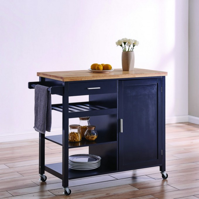 Blue Kitchen Island on Casters