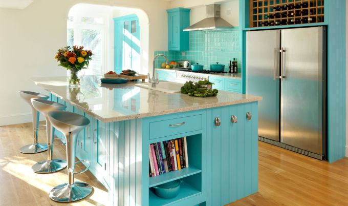 Blue Kitchen Island with Seating