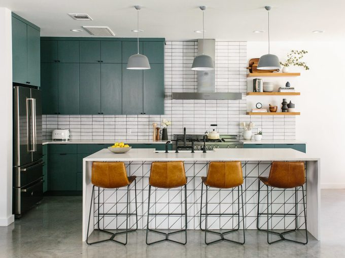 Teal Cabinet in kitchen Full of Texture