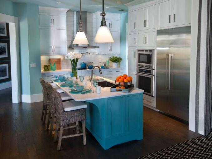 Teal Island with Teal Dinnerware Sets