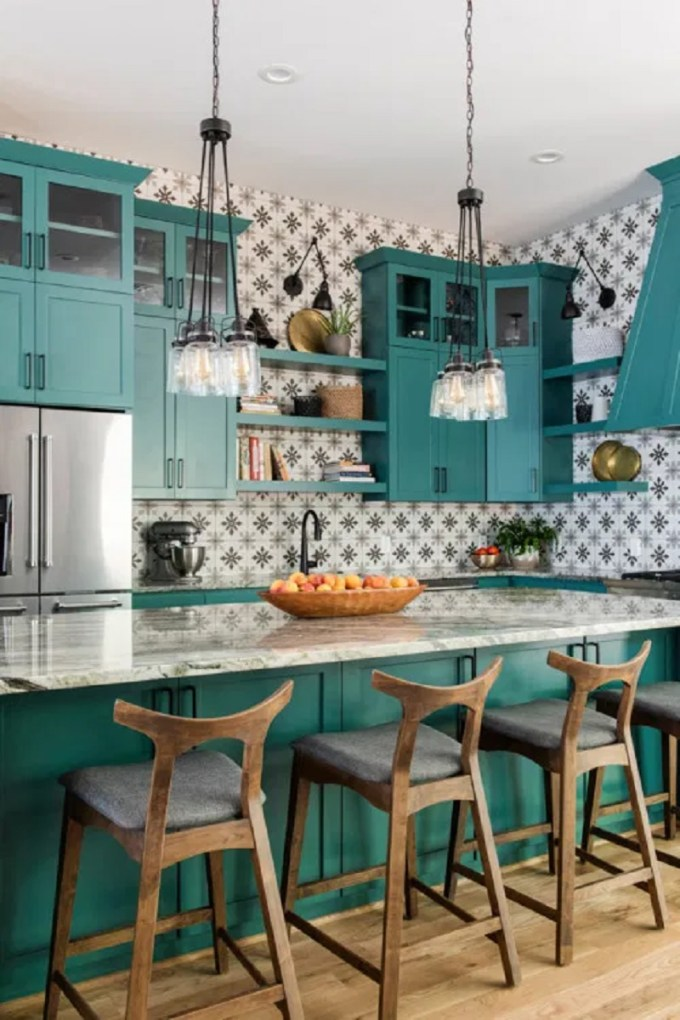 Teal and Monochrome Patterned Wall