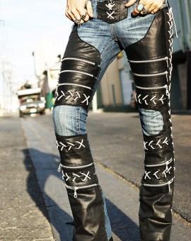 New Custom Rock Pants Blue Jeans Leopard Lace Faux
