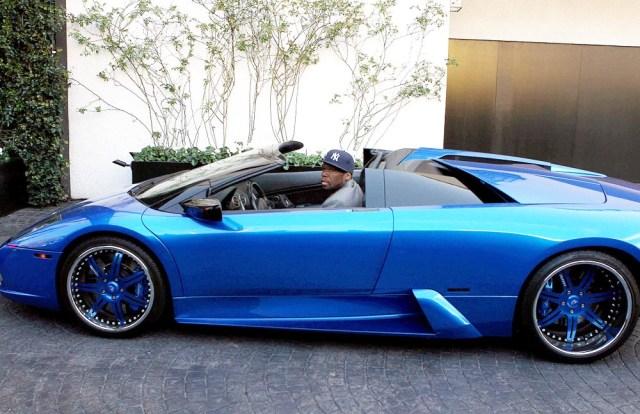 ©2011 RAMEY PHOTO 310-828-3445 NO ITALY/NO SPAIN Los Angeles, Mar 30th 2011 50 CENT was spotted leaving a hotel in Los Angeles, CA on his blue Lamborghini. PGpg68 (Mega Agency TagID: MEGAR18140_3.jpg) [Photo via Mega Agency]