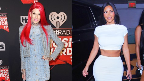 Jeffree Star Fans Think Kim Kardashian Looks Like Him After Bleaching Her Eyebrows — See Pics