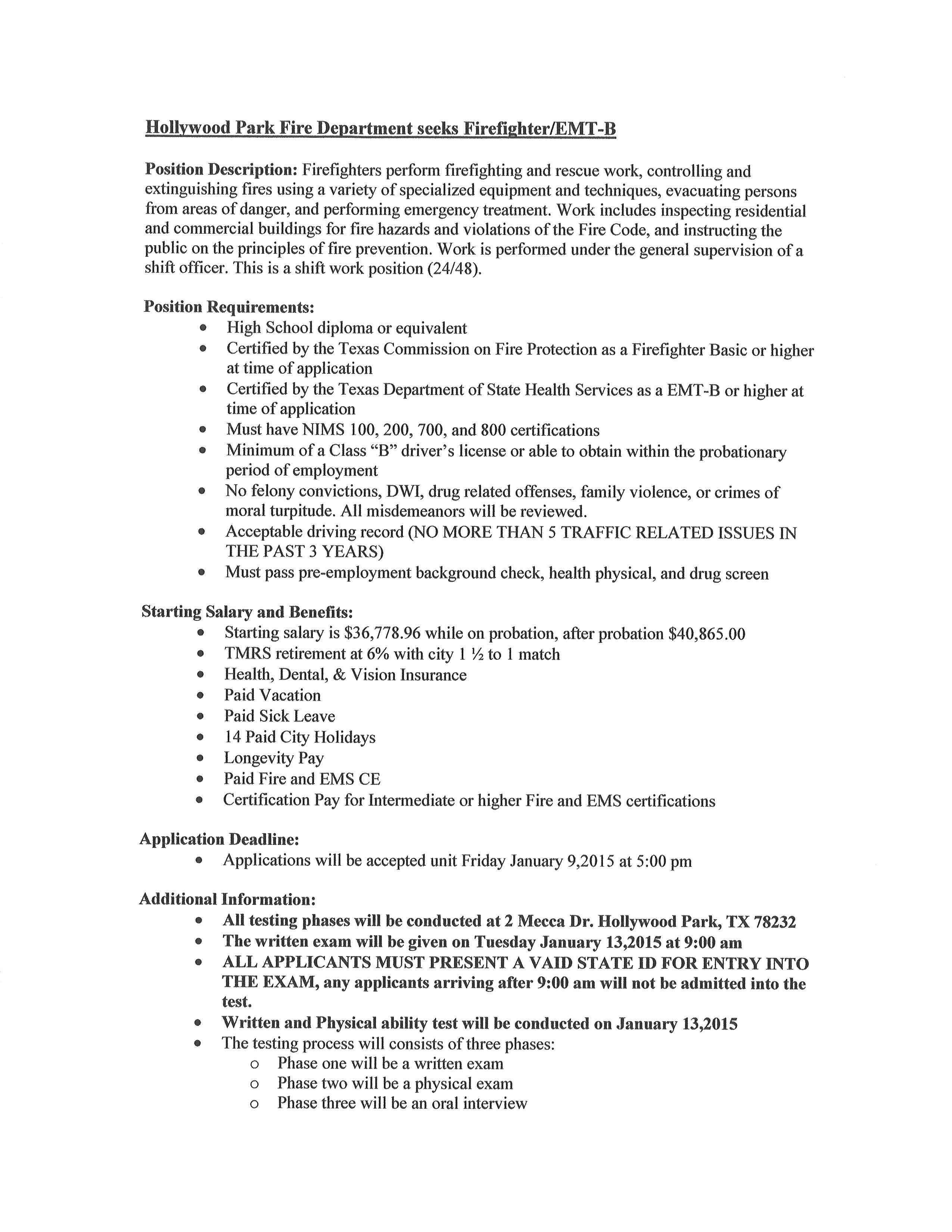 Government Jobs Upload Resume Employment Town Of Hollywood Park The Official Website