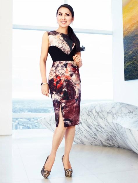 HP in a Prabal Garung dress and Stuart Weitzman heels