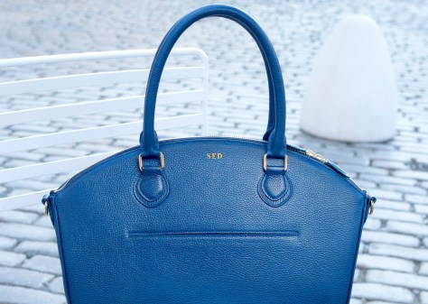 LDR Brand's innovative handbag in a cobalt blue, a very popular color this fall.