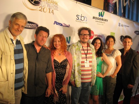 The cast and crew of Lovesick Fool at the Burbank Film Festival screening. From left to right: voiceover artist Paul Gregory, voiceover artist and producer David Polcino, voiceover artists Renee Rivera, writer-director and lead voiceover artist Dominic Polcino, voiceover artist Renee Rivera, writer-direct and lead voiceover artist Dominic Polcino, Vida Ghaffari, music supervisor Robin Fujiwara and voiceover artist Dr. Paul Batmanis. Photo courtesy of ZFO Entertainment