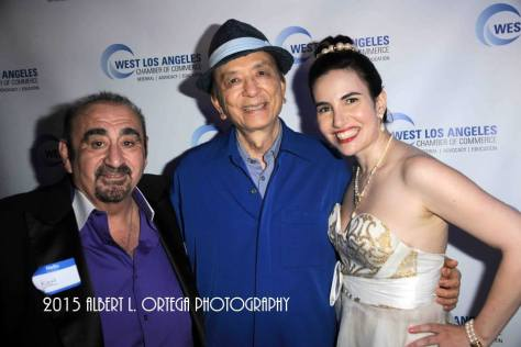 Iconic character actors Ken Davitian and James Hong with Vida. Photo courtesy of Albert L. Ortega/GettyImages