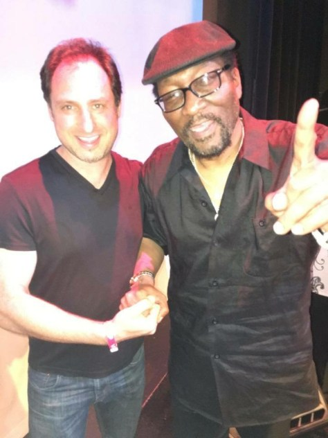 Southern California Blues Societies Cadillac Zack with legendary drummer Emry Thomas. Photo courtesy the Hollywood Press Corps