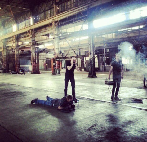 Jason Alacrity on the set for the COMBICHRIST video in Atlanta