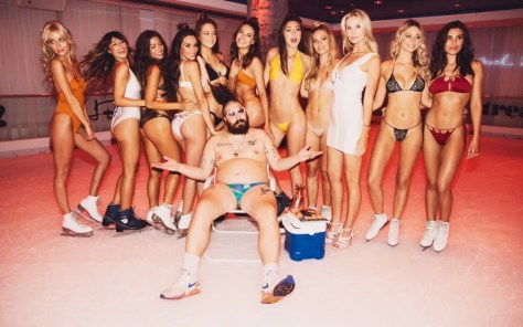 From left to right: Laura Rowley, Natalie Boras, Brittany Rafuson, Brittany Churchill, Elsie Hewitt, The Fat Jew, Kesnia Mezenina, Chelcie May, Jessica Smith, designer Monica Hansen, Josey Auguste, and Andrea DeLuca. Photo courtesy Bryant Eslava