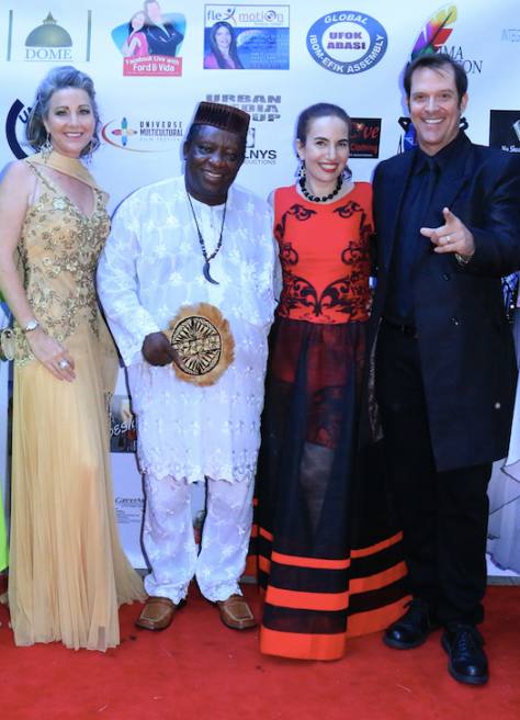 Mistress of Ceremonies Denise O'Brien, Founder of the Nollywood awards King Bassey, awardee Vida Ghaffari and presenter Ford Austin