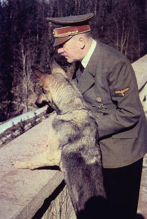 Hitler and dog Blondi