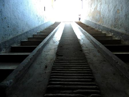 Stairs from the basement of the Pathology building, former concentration camp Sachsenhausen