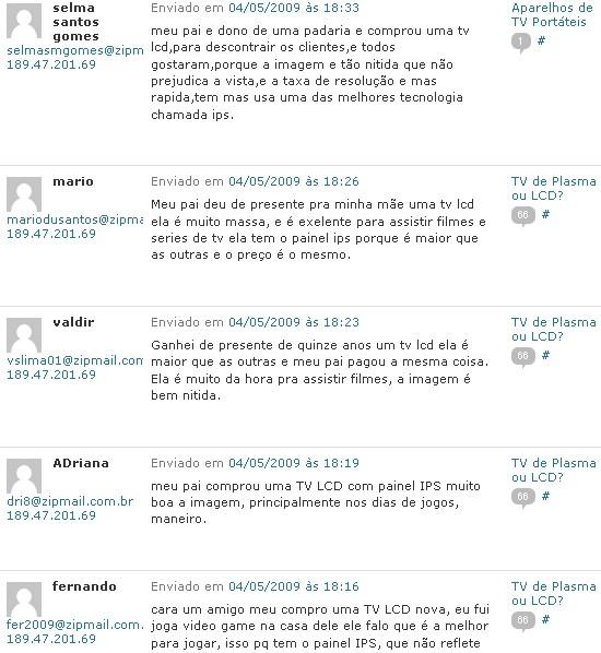 Comentários SPAM defendendo LCD com IPS