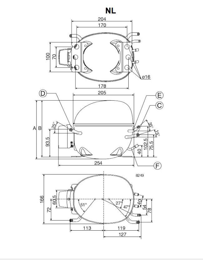 Компрессор NL10MF R134a (MBP) (пром.уп.)