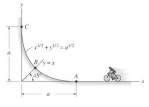 The cyclist travels to point A, pedaling until he reaches