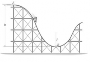 Determine the required height h of the roller coaster so