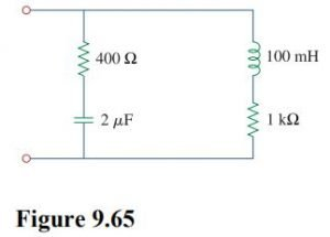 Find the equivalent impedance in Fig. 9.65 at ω = 10 krad