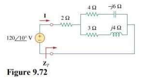 Determine Z_{T} and I for the circuit in Fig. 9.72