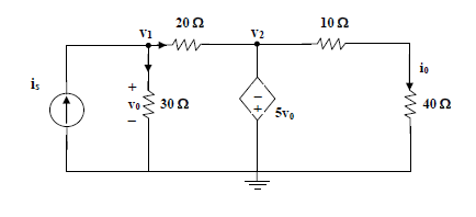 Calculate the current gain io/is in the circuit of the