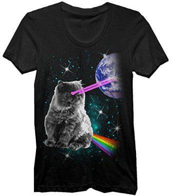 Laser-Eyes-Space-Cat-T-Shirt