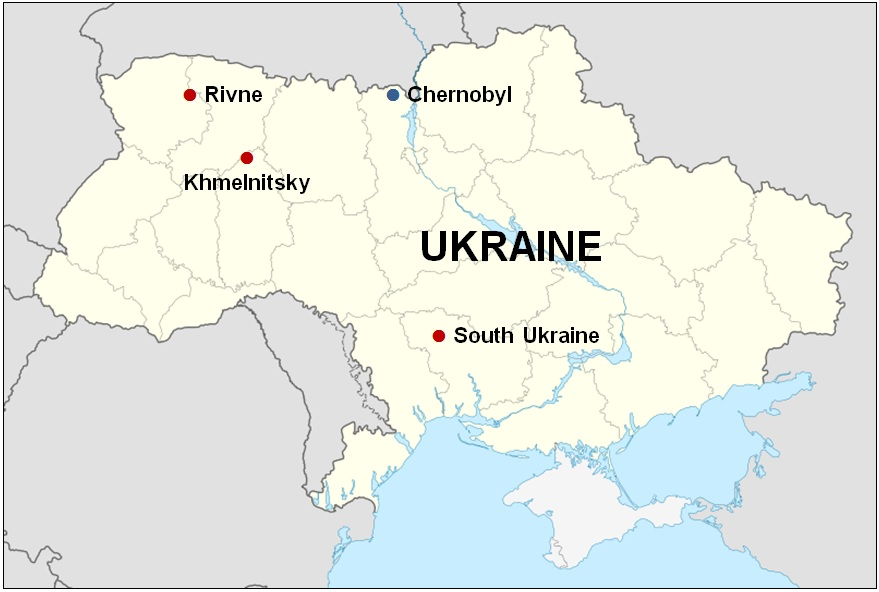 Map of Ukraine Showing the Locations of the Rivne, Khmelnitsky, South Ukraine, and the Chernobyl Nuclear Power Plant Sites. The Central Spent Fuel Facility Will Be Located Inside the Chernobyl Exclusion Zone.