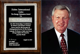 "Holtec Confers the ""Energy Statesman"" Award on the Legendary Nuclear Industry Leader, Oliver D. Kingsley Jr."