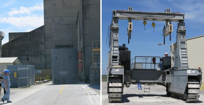 Photo Left: Loaded HI-STORM FW Dry Storage Cask, Containing 37 Spent Fuel Assemblies Staged for Transport to the ISFSI Photo Right: Vertical Cask Transport (VCT) used to Transport the Cask