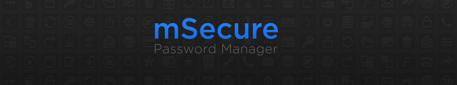 mSecure App Store banner design, black, text-only