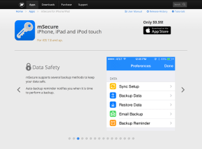 mSecure for iPhone, iPad and iPod Touch page header image, slide 2