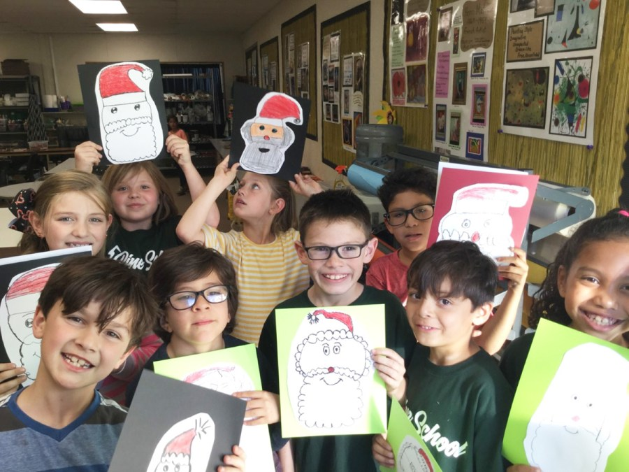 Pine School second graders enjoy creating art.