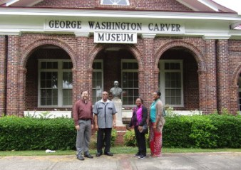 Outside the George Washington Carver museum.