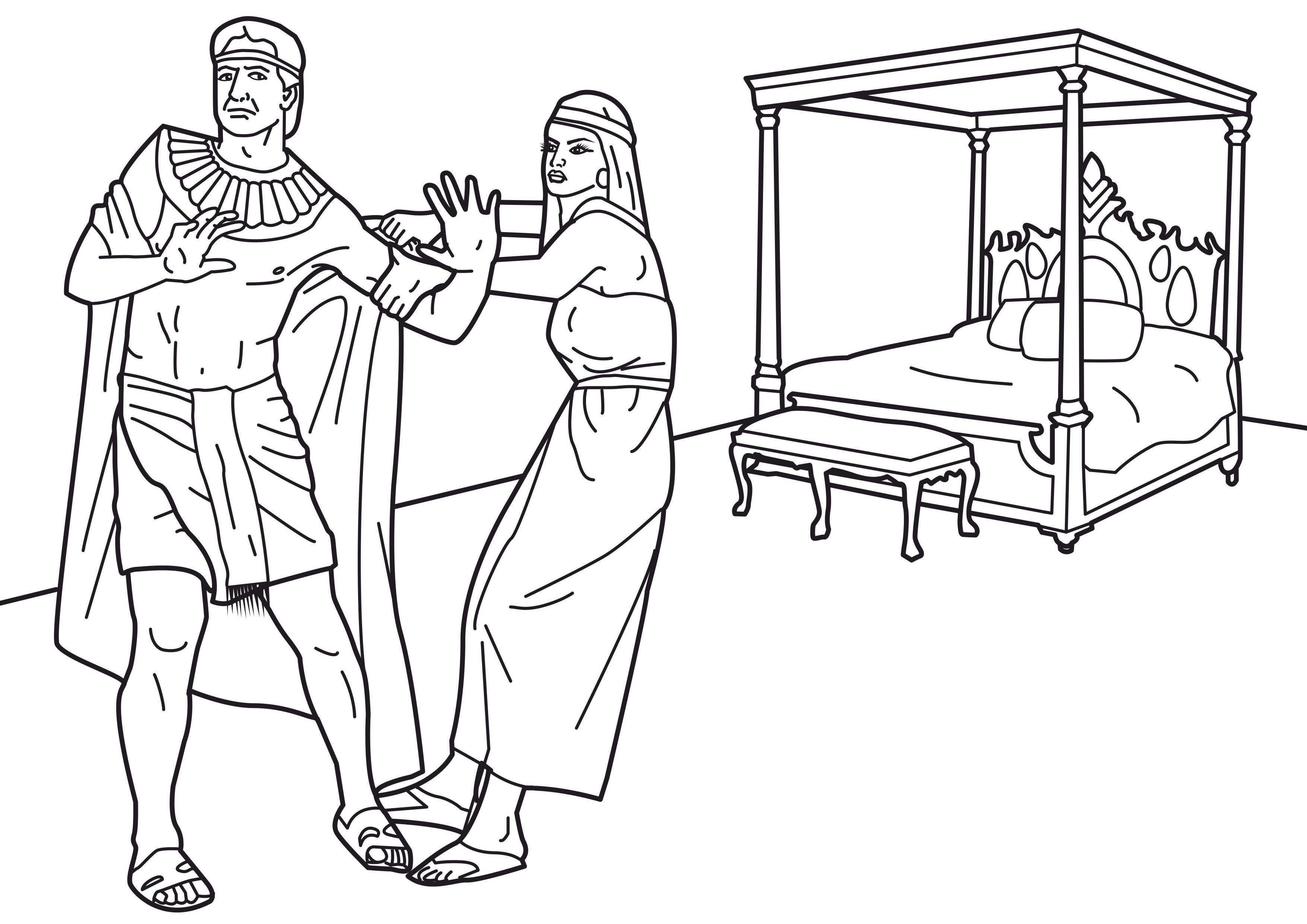 Joseph And Potiphar Coloring Page Coloring Pages