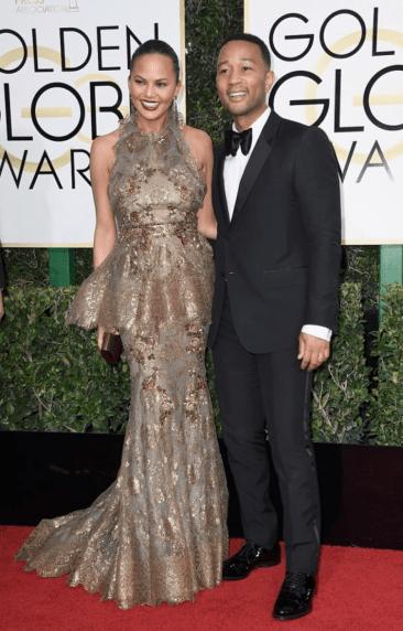 Chrissy Teigen and John Legend Golden Globes