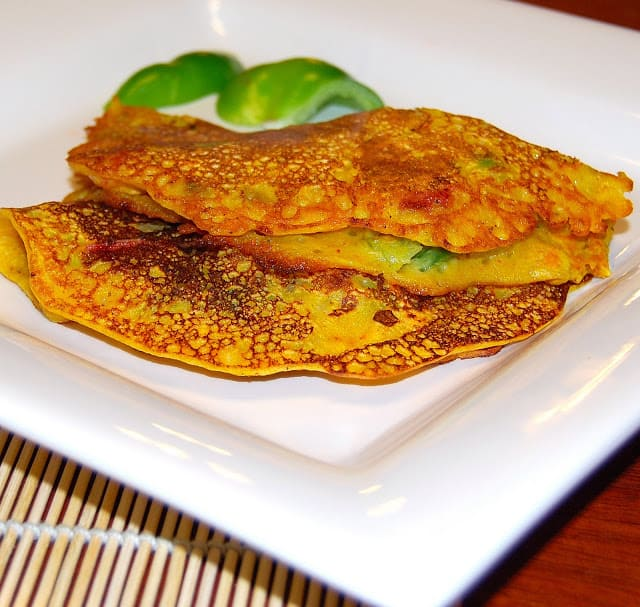 Besan cheela or besan chilla is an Indian vegetable omelet with no eggs