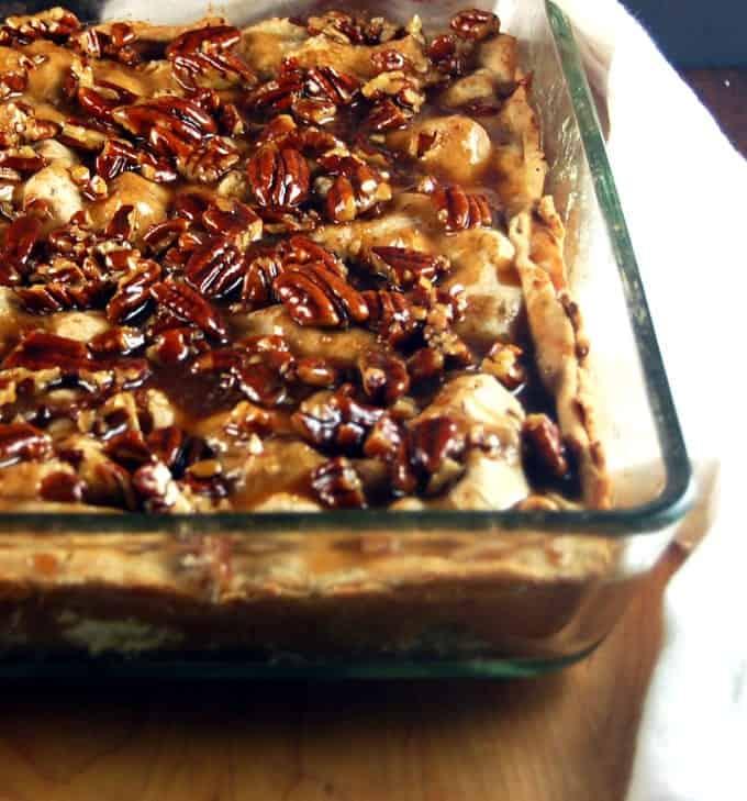 Slab Apple Pie with Salted Caramel Pecan Sauce