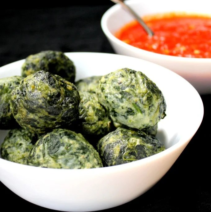 Spinach Cashew Ricotta Dumplings in a Marinara Sauce - holycowvegan.net