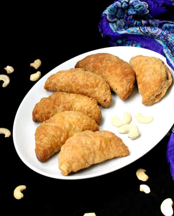 Karanji, an Indian vegan sweet for Diwali - HolyCowVegan.net