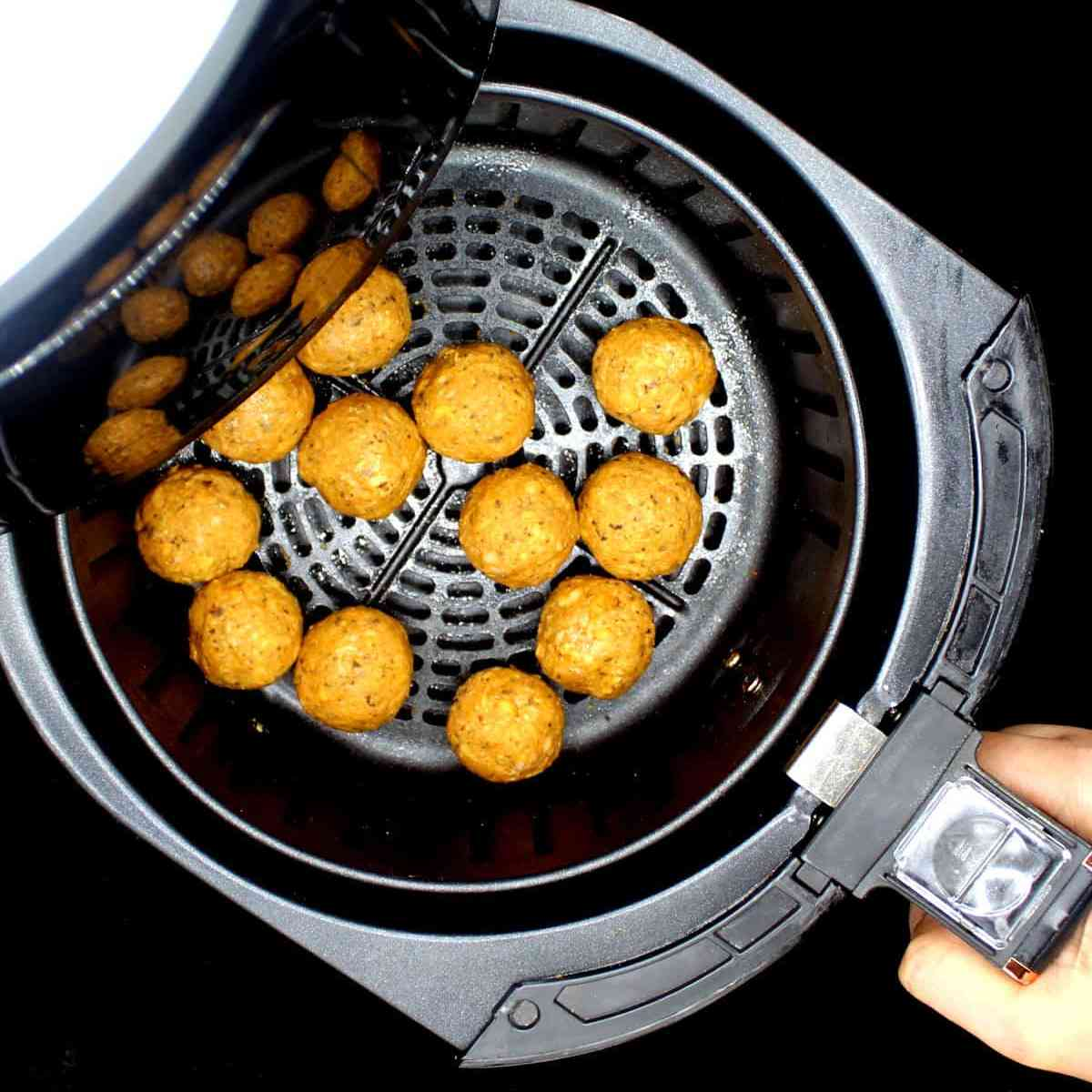 Vegan Air Fryer Meatballs in the air fryer basket