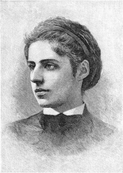 "An 1889 engraving of Emma Lazarus, author of ""The New Colossus."""