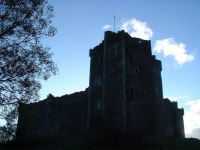 """A castle against the skyline - the one used as """"Castle Anthrax"""" in Monty Python and the Holy Grail."""
