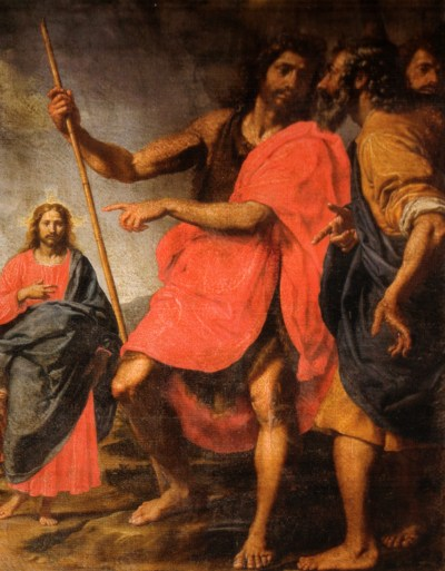 A figure in the foreground holding a staff (John the Baptist) gesturing to another figure in the background (Jesus), indicating him to two other persons.