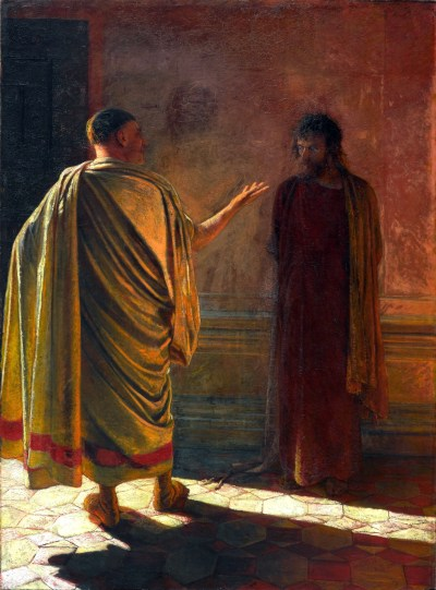 A stark painting of Pontius Pilate asking Jesus What is Truth?