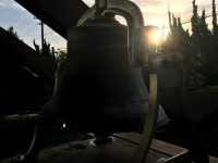 Silhouette of the church bell which rings for All Saints.