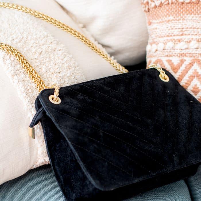 sac à main cuir matelassé noir