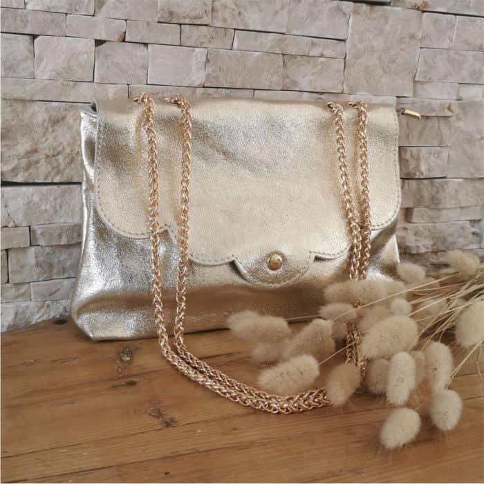 sac en cuir doré double chaine